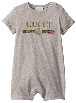 Gucci Kids Sleepsuit 508588X3L64 (Infant) (Light Grey/Green/Red) Kid's Jumpsuit & Rompers One Piece