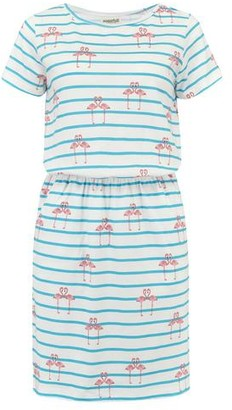 Sugarhill Boutique Terri Flamingo Stripe Dress Aqua - 8