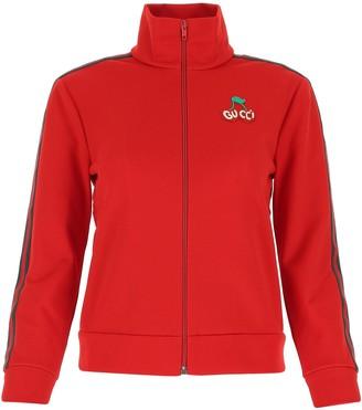 Gucci Cherry Piquet Zip-Up Jersey Jacket