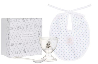 English Trousseau Kids Egg Cup, Spoon and Bib Gift Set
