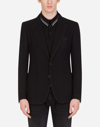 Dolce & Gabbana Deconstructed Stretch Jersey Jacket With Embroidery