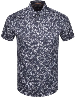 Ted Baker Floral Print Short Sleeved Shirt Navy