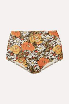 Solid & Striped + Re/done Floral-print Bikini Briefs - Orange