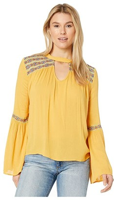 Rock and Roll Cowgirl Bell Sleeves B4-3105 (Gold) Women's Clothing