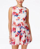 B. Darlin Juniors' Floral-Print Fit & Flare Dress