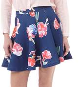 Superdry Womens Premium Scuba Skater Skirt Watercolour Collage Navy
