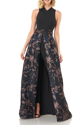 Kay Unger New York Nevada Stretch Crepe Jumpsuit w/ Jacquard Skirt Overlay