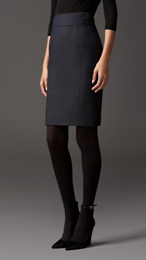 Burberry Travel Tailoring Wool Birdseye Pencil Skirt