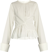 Marques Almeida MARQUES'ALMEIDA Asymmetric ruched-panel long-sleeved cotton shirt