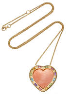 Brent Neale Large Puff Heart Coral Multi-Stone Pendant 18K Gold Necklace