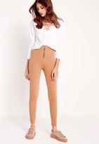 Missguided Zip Detail Skinny Fit Pants Nude