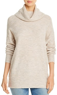 Marled Cowl Neck Ribbed Knit Tunic