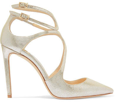 Jimmy Choo Lancer 100 Metallic Cracked-leather Pumps - Silver