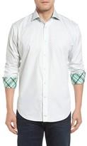 Thomas Dean Men's Classic Fit Neat Floral Print Sport Shirt