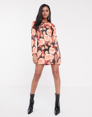Sacred Hawk mini dress with side split and mandarin collar in bold floral