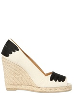 Castaner 110mm Canvas And Rope Open Toe Wedges