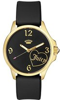 Juicy Couture Women's 'Jetsetter' Quartz Gold-Tone and Silicone Automatic Watch, Color:Black (Model: 1901308)