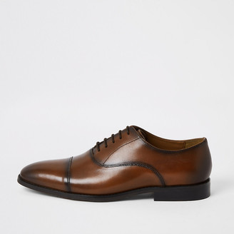 River Island Brown leather lace-up Oxford brogues