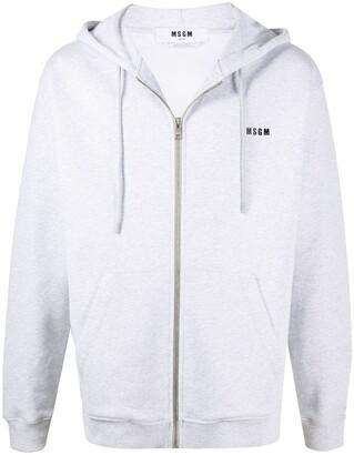 MSGM Drawstring Zip-Front Hoodie