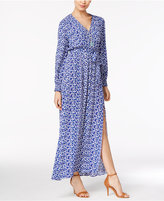 ECI Floral-Print Faux-Wrap Maxi Dress