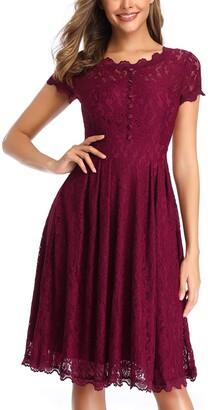 Owin Women's Retro Floral Lace Cap Sleeve Vintage Swing Bridesmaid Dress (S