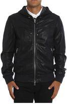 Eleventy Hooded Leather Bomber Jacket