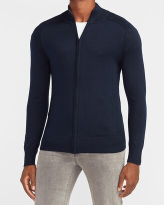 Express Solid Merino Wool-Blend Full Zip Sweater