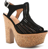 Qupid Gusto Perforated Ankle-Strap Platform Sandals