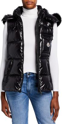 Moncler Balabio Nylon Laque Vest w/ Removable Fur Trim