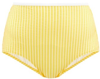 Issimo X Solid & Striped - The Brigitte High-rise Seersucker Bikini Briefs - Yellow