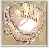 Stupell Industries The Kids Room by Stupell Baseball Glove with Baseball on Background Square Wall Plaque