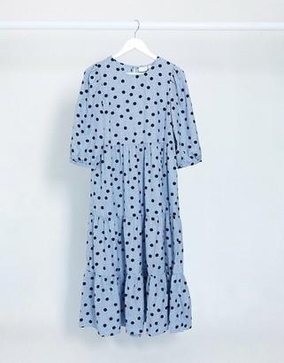 Vila midi smock dress with tiered skirt in blue polka dot