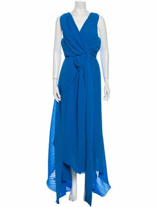 Preen by Thornton Bregazzi V-Neck Long Dress Blue