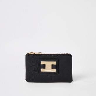 River Island Womens Black RI zip top pouch