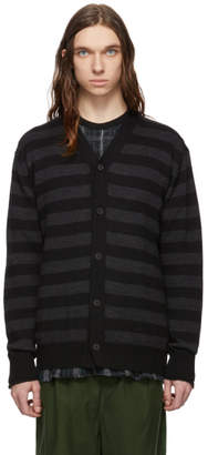 Comme des Garcons Homme Black Embroidered Cardigan