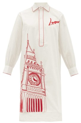 Kilometre Paris - London Piping Embroidered Cotton Pyjama Shirt - Womens - White Multi