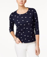 Charter Club Petite Cotton Swan-Print Top, Created for Macy's