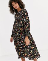 Never Fully Dressed shirred midi skater dress in dark floral print
