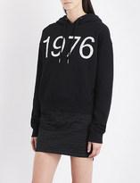 Boy London Ladies Black Printed Vintage Cotton-Jersey Hoody