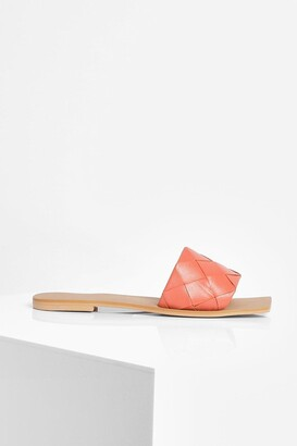 boohoo Leather Woven Strap Square Toe Slider