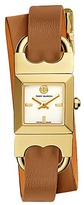 Tory Burch Double-T Link Watch, Orange/Luggage/Gold-Tone, 18 X 18 Mm