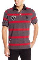 U.S. Polo Assn. Men's Black Mallet Striped Pique Polo Shirt