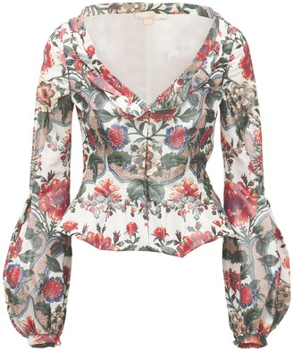 Brock Collection Printed Silk Blend Taffeta Peplum Jacket