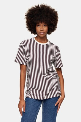 Topman White and Pink Waffle Stripe T-Shirt