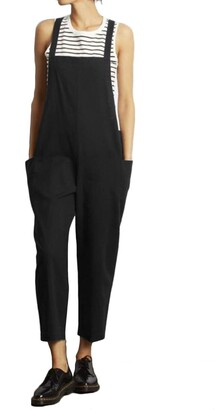 VONDA Women's Strappy Jumpsuits Baggy Overalls Casual Cotton Dungarees D-Dark Black 4XL