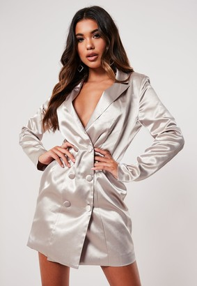 Missguided Silver Satin Covered Button Blazer Dress