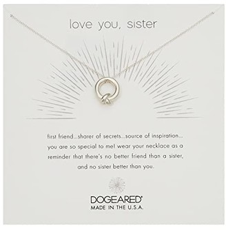 Dogeared Love You, Sister, Together Knot Charm Necklace (Silver) Necklace