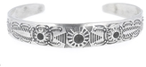 Chan Luu Floral Etched Silver Cuff With Stones
