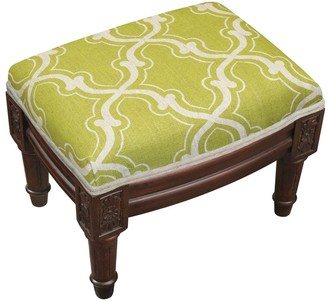 Copper Grove Castletown Chartreuse Upholstered Wood Footstool with Trellis Accents