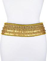 Oscar de la Renta Golden Coin Tassel-Tie Belt